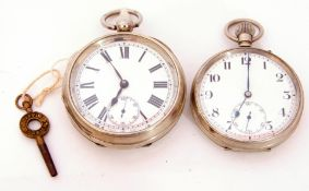 Last quarter of 19th/first quarter of 20th century gent's nickel cased pocket watch with blued steel