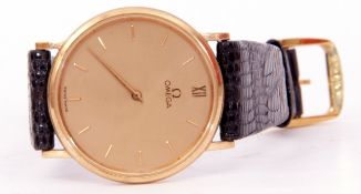 Gents last quarter of 20th century hallmarked 9ct gold cased evening watch with gold hands to a gold