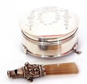 Mixed Lot: George V child's rattle/whistle, a baton of pale coloured agate with a silver mount,