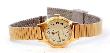Ladies gold plated and stainless steel backed Lorus quartz movement wrist watch mounted on a gold