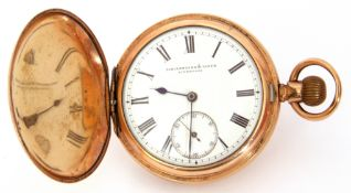 Last quarter of 19th/first quarter of 20th century American gold plated cased hunter pocket watch
