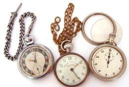 "Mixed Lot: metal cased ""Railway Timekeeper"" pocket watch on metal chain, an Ingersoll Triumph"