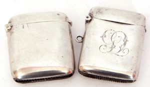Mixed Lot: late Victorian vesta case of hinged and sprung rectangular form with monogram cover, 5