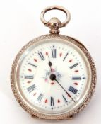 Last quarter of 19th/first quarter of 20th century Continental white metal cased fob watch having