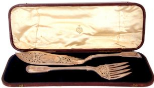 Victorian cased solid silver fish servers of typical form, the servers pierced blade with engraved