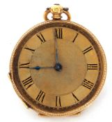 Last quarter of 19th century Continental high-grade yellow metal fob watch with key wind, blued