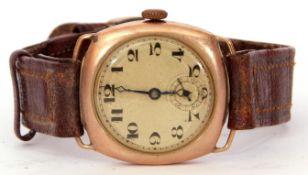 Second quarter of 20th century gents import hallmarked 9ct gold cased wrist watch having blued steel