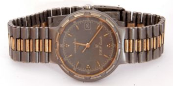 Last quarter of 20th century gent's Longines Ti V.H.P. Quartz small wrist watch with gold hands to a