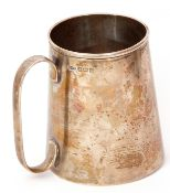 Mid-20th century tankard of tapering cylindrical form, plain polished design, Birmingham 1944,