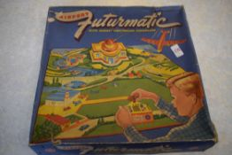 Boxed Airport Futurmatic game with remote controlled aeroplane, circa 1940s, manufactured by Marx