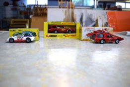 Group of two Corgi models comprising The Monkees mobile, a Porsche Carrera and a Dinky Spectrum