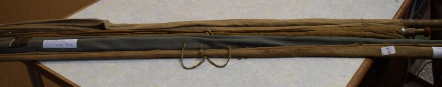 "Collection of five fishing rods including a Hardy ""The Bounty"" in two pieces, 8ft 6ins, in"