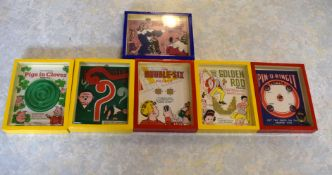 Job lot of six boxed games including Double Six, Golden Rod, Ping u Ringit, Pigs in Clover etc