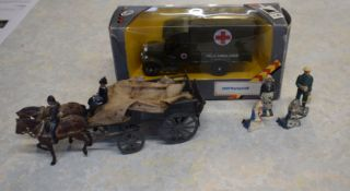 Britains WWI horse-drawn ambulance together with a Corgi scale model of a 1929 Thorneycroft field