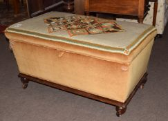 Victorian mahogany based and upholstered ottoman (pine lined), the wool work top featuring geometric