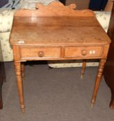 Victorian stripped oak wash stand or side table, having shaped back, two drawers to frieze with