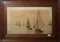 "H Jenkins, signed to image, dated 1907, ""Photo - Lowestoft"" depicting a flotilla at sea, original"