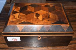 Late Georgian stained wood and parquetry inlaid small sewing box with cuboid pattern to the lid,