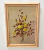 Enid Clarke (20th century), Flower study, oil on board, signed and dated 71 lower right, 57 x 38cm