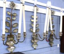 Interesting set of three metal and moulded glass light fittings in the form of flowering trees