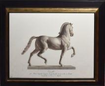 """Pair of late 20th century reproduction sepia prints of prancing horse statuary """"Cavallo"""", 39cm x"""
