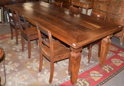 20th century Asian sub-continent hardwood farmhouse style dining table with cross banded top and