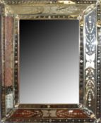 Venetian style large wall mirror with engraved detail of flowers and foliage to the segmented