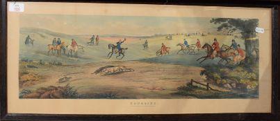 """After Samuel Alken, hand coloured aquatint published 1841 """"Coursing"""", oak framed, 20cm x 65cm"""