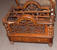 Victorian burr walnut and rosewood music Canterbury of rectangular shape having elaborately