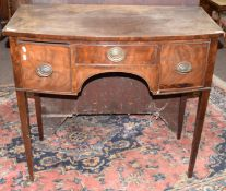 19th century mahogany bow fronted small sideboard or side table having three drawers to shaped