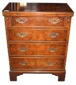 Early Georgian style burr walnut veneered small chest of four drawers with brass fittings, fold-over