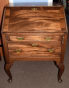19th century small mahogany fall front bureau having cross banded flap over two graduated drawers,