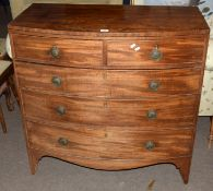 Late Georgian mahogany bow front chest of two and three drawers with replacement brass ring