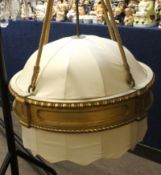 Interesting early/mid-20th century giltwood and cream silk large ceiling light fitting suspended