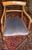 Regency period mahogany bar back carver chair raised on ring turned front supports with peg feet (