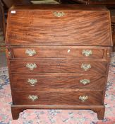 George III mahogany bureau, the fall front opening to reveal a basic fitted interior over four