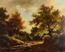 Continental School (20th century), Woodland scene, oil on panel, indistinctly signed lower right, 29