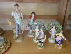 GROUP OF CONTINENTAL PORCELAIN FIGURES (6)