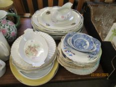 QUANTITY OF VARIOUS CHINA INCLUDING ASSORTED MEAT PLATES OF HUNTING INTEREST ETC
