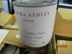 TWO X 2.5LTRS OF LAURA ASHLEY SUGARED VIOLET MATT EMULSION PAINT