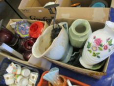 TWO BOXES CONTAINING VARIOUS HOUSEHOLD CHINA AND GLASS