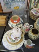 QUANTITY OF ASSORTED HOUSEHOLD CHINA AND GLASS INCLUDING EARLY 20TH CENTURY JAPANESE EXPORT TEA