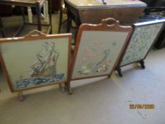 THREE VARIOUS EMBROIDERED FIRE SCREENS