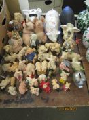 QUANTITY OF VARIOUS PIG FIGURES INCLUDING LARGE CERAMIC EXAMPLES, RESIN MODELS ETC