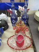 QUANTITY OF VARIOUS GLASS INCLUDING CRANBERRY BASKET, BOWL ETC
