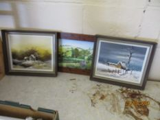 TWO CONTEMPORARY OIL PAINTINGS AND A PAINTING ON GLASS, EACH FRAME WIDTH APPROX 33CM