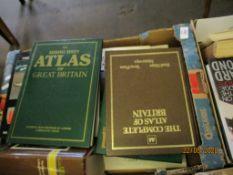 BOX OF MIXED BOOKS INC ATLASES, TRAVEL INTEREST ETC