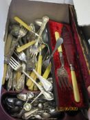 BOX CONTAINING GOOD QUANTITY OF VARIOUS BONE HANDLED AND SILVER PLATED CUTLERY