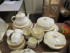 QUANTITY OF ALFRED MEAKIN DINNER WARES INCLUDING TUREENS, TEA POT ETC, WITH GILT RIM