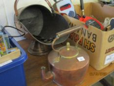 COPPER KETTLE TOGETHER WITH A COPPER COAL SCUTTLE